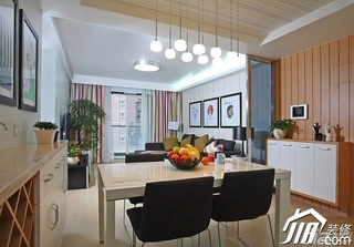 三米设计简约风格二居室经济型90平米餐厅灯具效果图