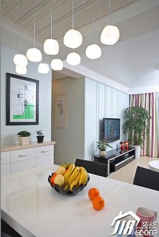 三米设计简约风格二居室经济型90平米餐厅餐桌效果图