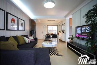 三米设计简约风格二居室经济型90平米客厅沙发效果图