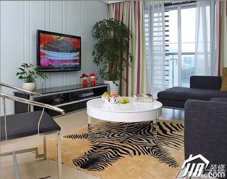 三米设计简约风格二居室经济型90平米客厅窗帘效果图