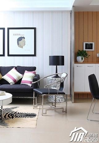 三米设计简约风格二居室经济型90平米客厅灯具效果图