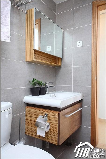 三米设计简约风格二居室经济型90平米卫生间洗手台图片
