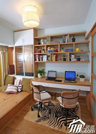 三米设计简约风格二居室经济型90平米书房地台书桌效果图