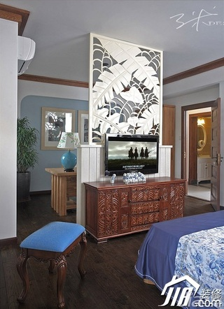 三米设计中式风格公寓经济型130平米卧室隔断电视柜效果图