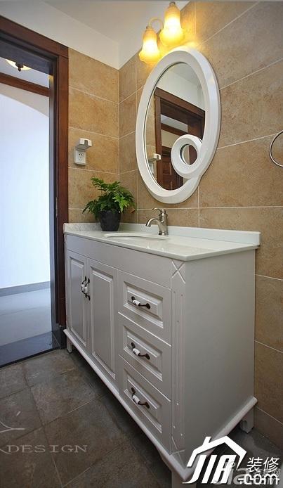 三米设计中式风格公寓经济型130平米卫生间浴室柜效果图
