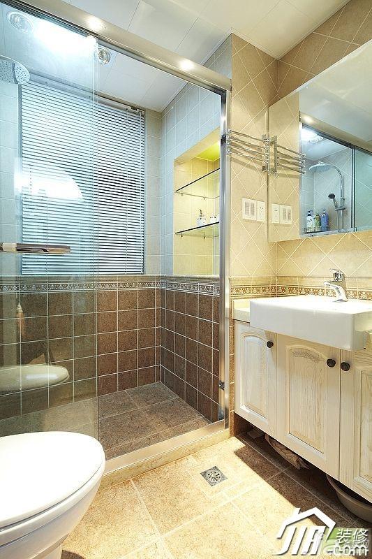 美式乡村风格三居室富裕型120平米卫生间浴室柜图片
