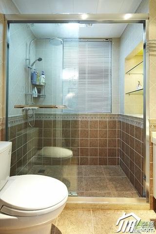 美式乡村风格三居室富裕型120平米卫生间装修图片