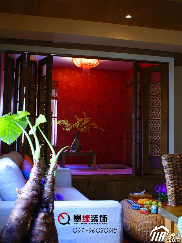 田园风格公寓暖色调5-10万50平米客厅地台效果图