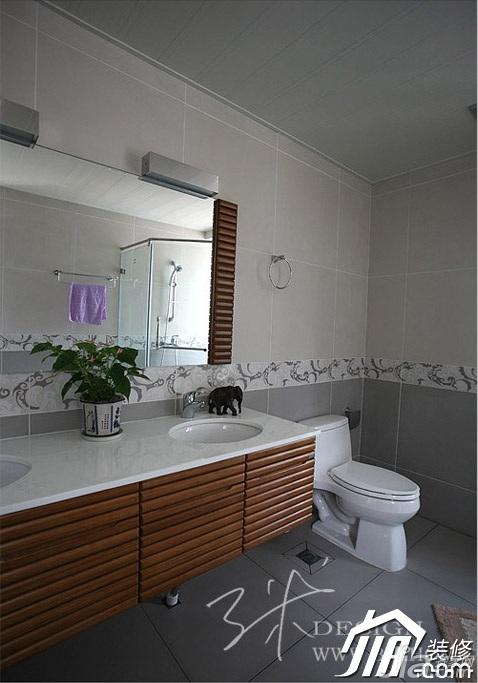 三米设计混搭风格公寓富裕型130平米卫生间浴室柜效果图