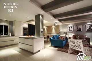 简约风格复式时尚富裕型客厅吧台沙发效果图