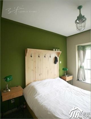 三米设计简约风格公寓经济型90平米卧室卧室背景墙床头柜效果图
