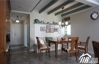 三米设计美式乡村风格公寓经济型130平米餐厅照片墙餐桌效果图