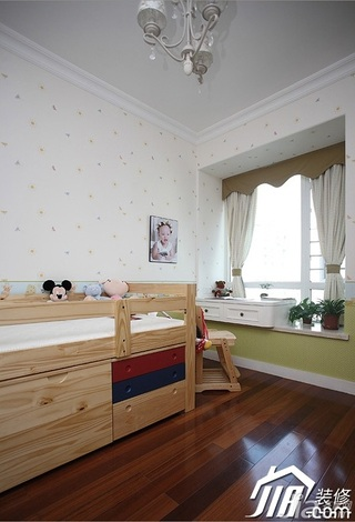 三米设计美式乡村风格公寓经济型130平米儿童房飘窗