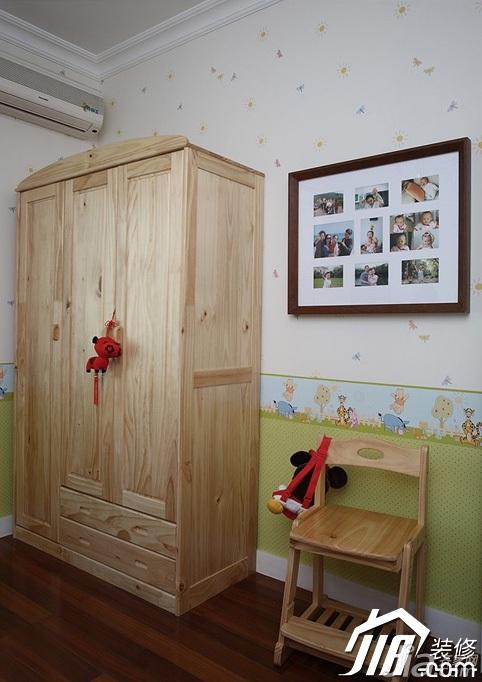 三米设计简欧风格公寓蓝色经济型120平米儿童房衣柜
