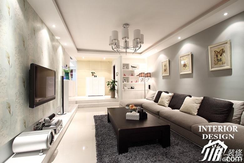 简约风格电视背景墙装修效果图 三米设计简约风格公寓经济型130平米