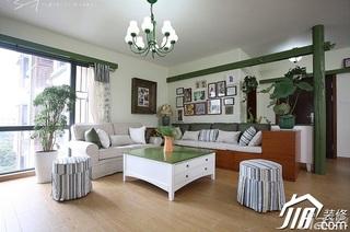 三米设计田园风格公寓小清新经济型120平米客厅照片墙茶几效果图