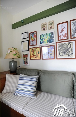 三米设计田园风格公寓经济型120平米客厅照片墙沙发效果图