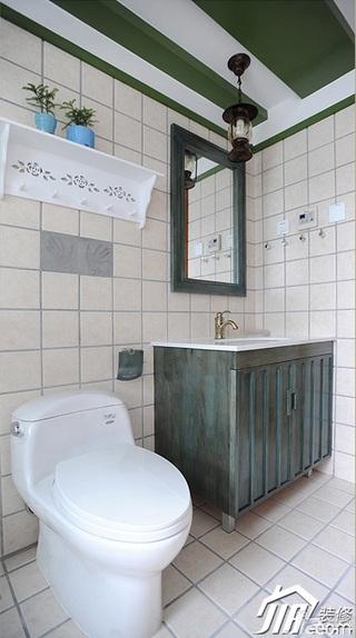 三米设计田园风格公寓经济型120平米卫生间吊顶洗手台效果图