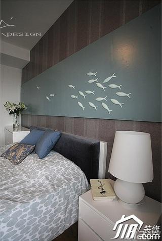 三米设计简约风格公寓经济型130平米卧室卧室背景墙灯具效果图