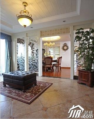 三米设计美式风格别墅豪华型门厅隔断灯具效果图