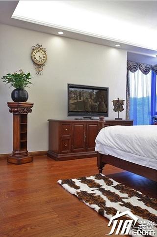 三米设计美式风格别墅豪华型卧室电视柜效果图