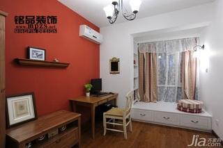 简约风格三居室红色经济型飘窗书桌效果图
