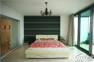 三米设计简约风格公寓经济型130平米卧室卧室背景墙床图片