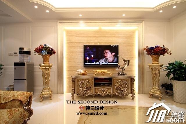 欧式风格奢华金色豪华型140平米以上客厅电视背景墙设计图