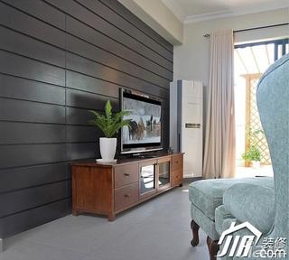 三米设计简约风格复式富裕型客厅电视背景墙电视柜效果图
