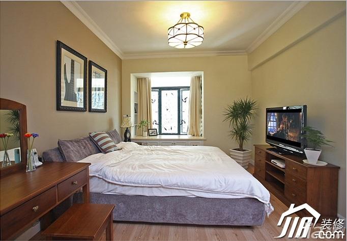 三米设计简约风格复式富裕型卧室飘窗电视柜图片