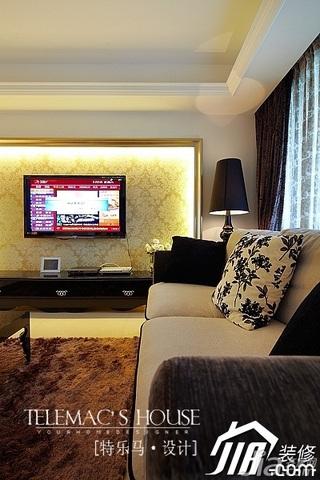 新古典风格公寓时尚暖色调富裕型140平米以上客厅电视背景墙电视柜效果图
