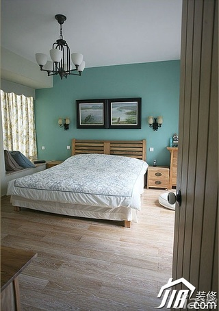三米设计简约风格公寓小清新绿色经济型130平米卧室灯具效果图