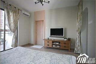 三米设计简约风格公寓经济型130平米卧室窗帘图片