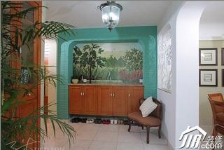 三米设计混搭风格公寓经济型130平米门厅隔断鞋柜图片