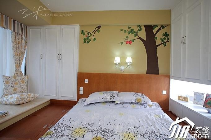 三米设计混搭风格公寓经济型130平米卧室背景墙衣柜设计