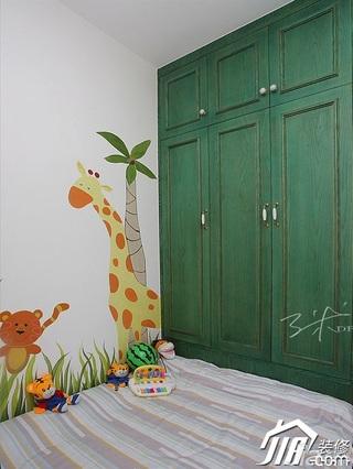 三米设计混搭风格公寓可爱经济型130平米卧室背景墙衣柜图片
