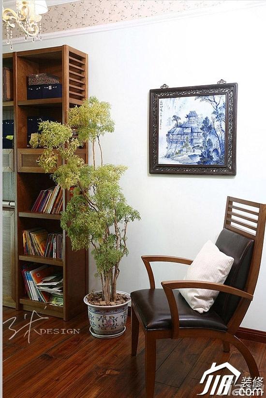 三米设计美式乡村风格公寓富裕型130平米书房沙发图片