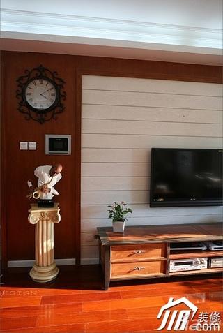 三米设计美式风格二居室经济型130平米客厅电视背景墙效果图