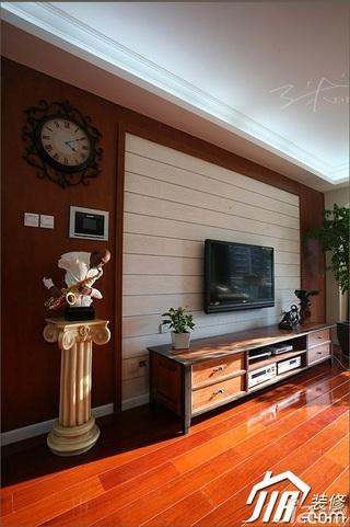 三米设计美式风格二居室经济型130平米电视背景墙装修效果图