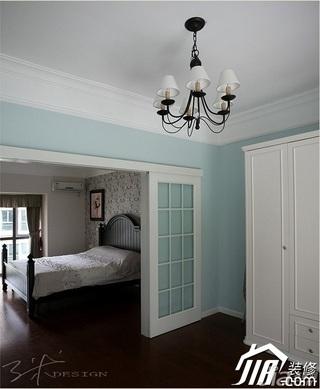 三米设计美式乡村风格复式富裕型卧室隔断衣柜设计图