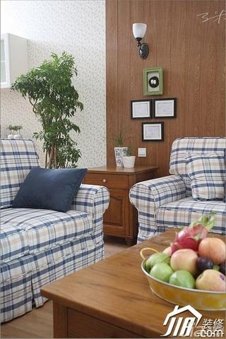 三米设计田园风格公寓经济型130平米客厅照片墙沙发效果图