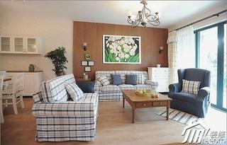 三米设计田园风格公寓经济型130平米客厅窗帘效果图