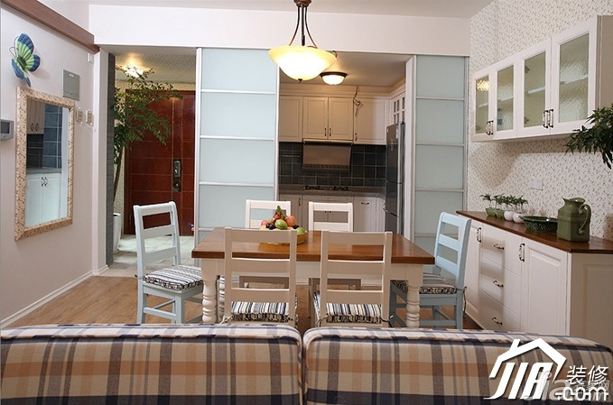 三米设计田园风格公寓经济型130平米餐厅橱柜定做