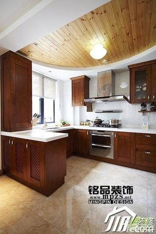 中式风格三居室5-10万厨房吊顶橱柜效果图
