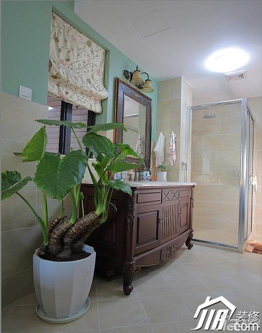 三米设计混搭风格别墅富裕型卫生间洗手台效果图