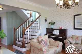 三米设计田园风格复式富裕型客厅楼梯壁纸效果图