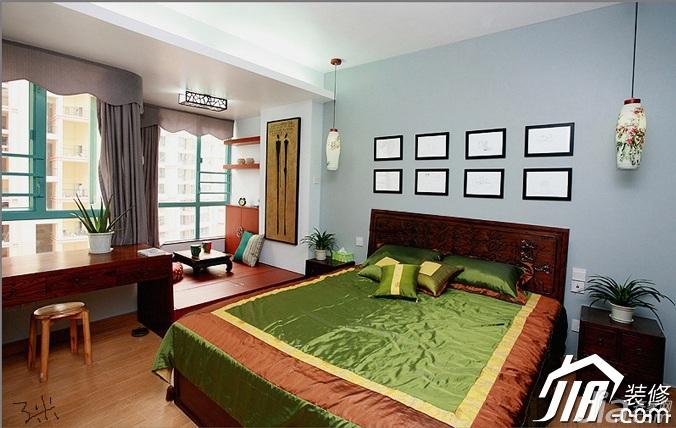 三米设计中式风格公寓经济型120平米卧室地台床图片