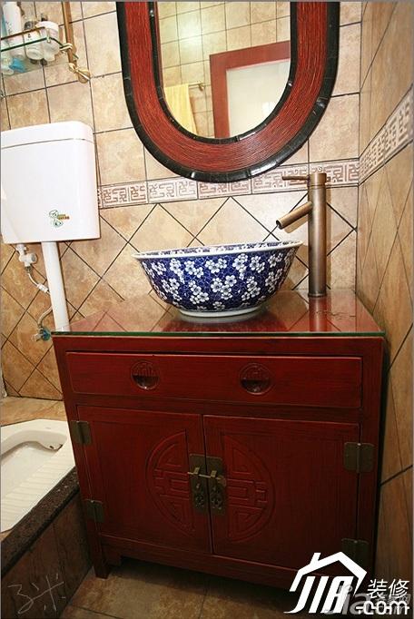 三米设计中式风格公寓经济型120平米卫生间洗手台效果图