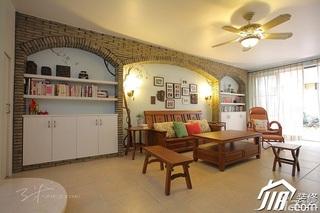 三米设计混搭风格别墅富裕型客厅照片墙沙发效果图