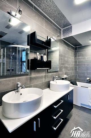 简约风格复式时尚黑色豪华型140平米以上主卫洗手台效果图